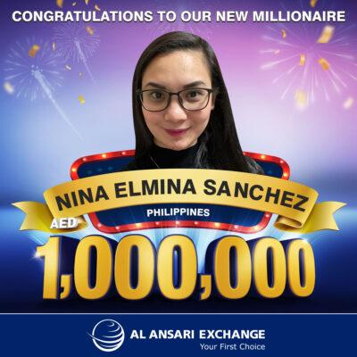 Nina Elmina Sanchez becomes 7th Millionaire of Al Ansari Exchange's live draw in Dubai.